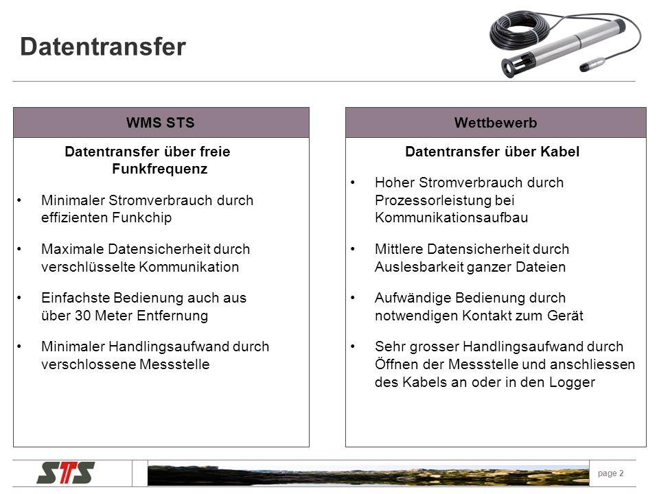 Datentransfer page 1 WMS STS Datentransfer über freie Funkfrequenz Minimaler Stromverbrauch durch effizienten Funkchip Maximale Datensicherheit durch verschlüsselte Kommunikation Einfachste Bedienung durch automatischer Erkennungder Logger durch die Software Minimaler Handlingsaufwand durch verschlossene Messstellen Wettbewerb Datentransfer über Blue Tooth Hoher Stromverbrauch durch weniger effizienten Chip Keine Datensicherheit durch leicht hackbares Protokoll Aufwendigere Bedienung durch Aufwände mit der Bluetooth Verknüpfung Höherer Handlingsaufwand durch manuelles Öffnen der Messstellen