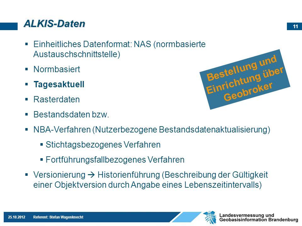 11 25.10.2012 Referent: Stefan Wagenknecht ALKIS-Daten Einheitliches Datenformat: NAS (normbasierte Austauschschnittstelle) Normbasiert Tagesaktuell R