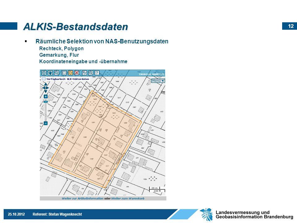 12 25.10.2012 Referent: Stefan Wagenknecht Räumliche Selektion von NAS-Benutzungsdaten Rechteck, Polygon Gemarkung, Flur Koordinateneingabe und -übern
