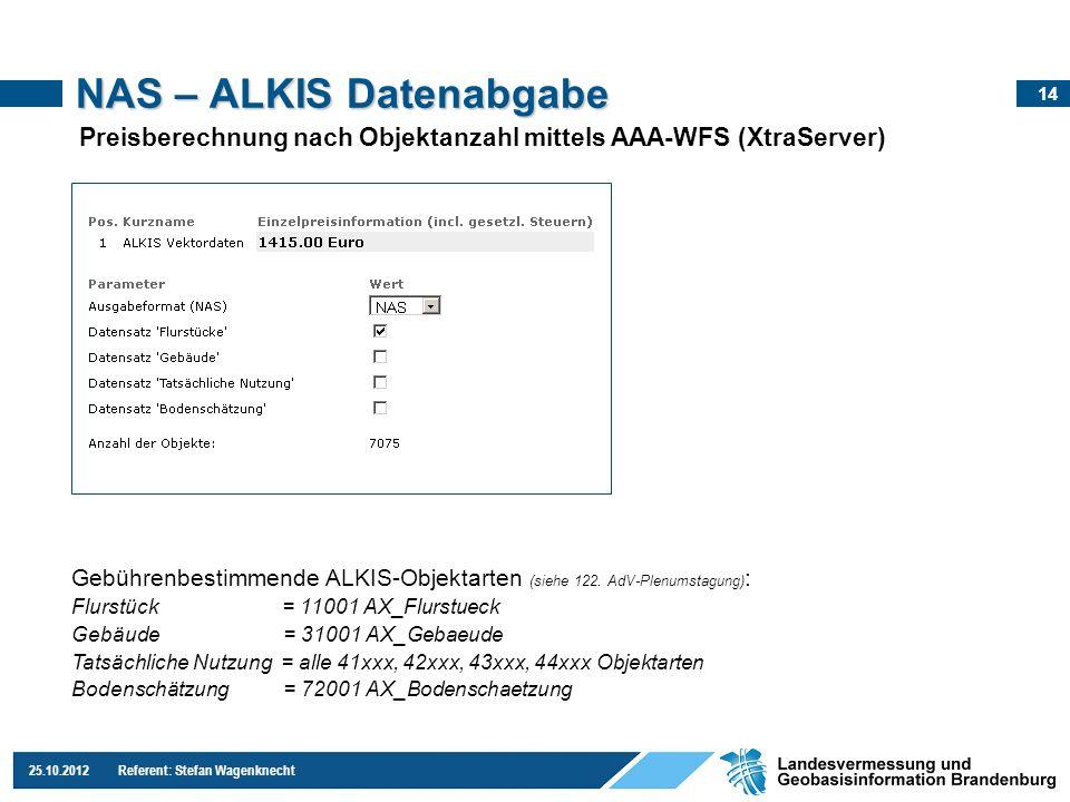 14 25.10.2012 Referent: Stefan Wagenknecht NAS – ALKIS Datenabgabe Preisberechnung nach Objektanzahl mittels AAA-WFS (XtraServer) Gebührenbestimmende