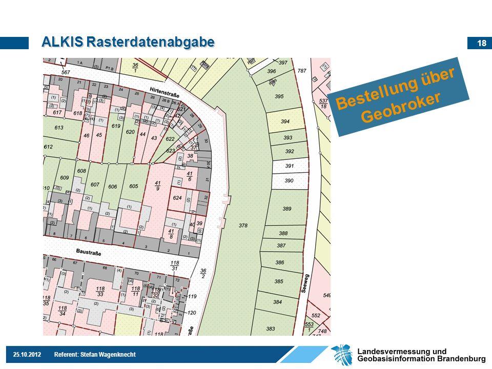 18 25.10.2012 Referent: Stefan Wagenknecht ALKIS Rasterdatenabgabe Bestellung über Geobroker