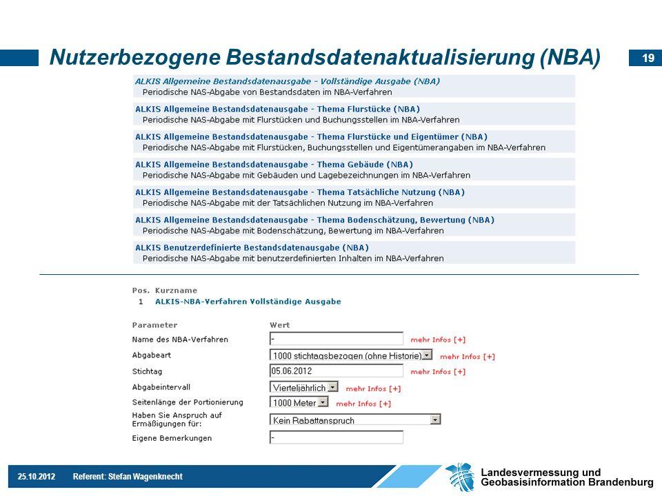 19 25.10.2012 Referent: Stefan Wagenknecht Nutzerbezogene Bestandsdatenaktualisierung (NBA)