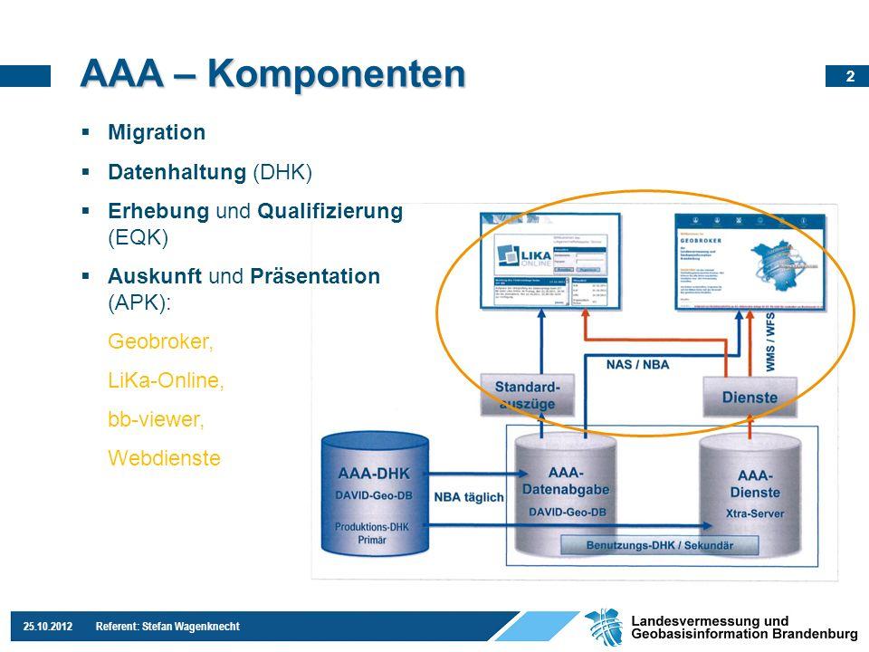 23 25.10.2012 Referent: Stefan Wagenknecht AAA – Komponenten Migration Datenhaltung (DHK) Erhebung und Qualifizierung (EQK) Auskunft und Präsentation (APK): Geobroker, LiKa-Online, bb-viewer, Webdienste