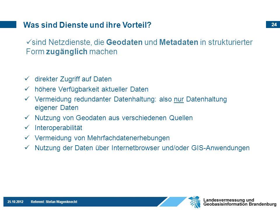 24 25.10.2012 Referent: Stefan Wagenknecht Was sind Dienste und ihre Vorteil? direkter Zugriff auf Daten höhere Verfügbarkeit aktueller Daten Vermeidu
