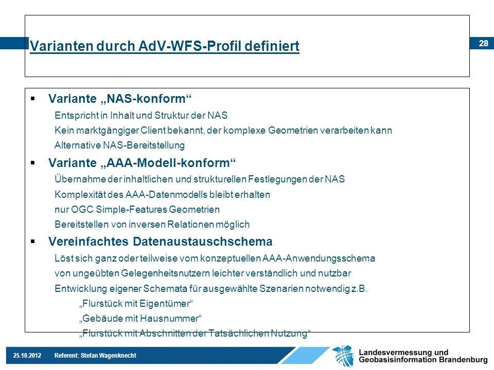 28 25.10.2012 Referent: Stefan Wagenknecht Variante NAS-konform Entspricht in Inhalt und Struktur der NAS Kein marktgängiger Client bekannt, der kompl