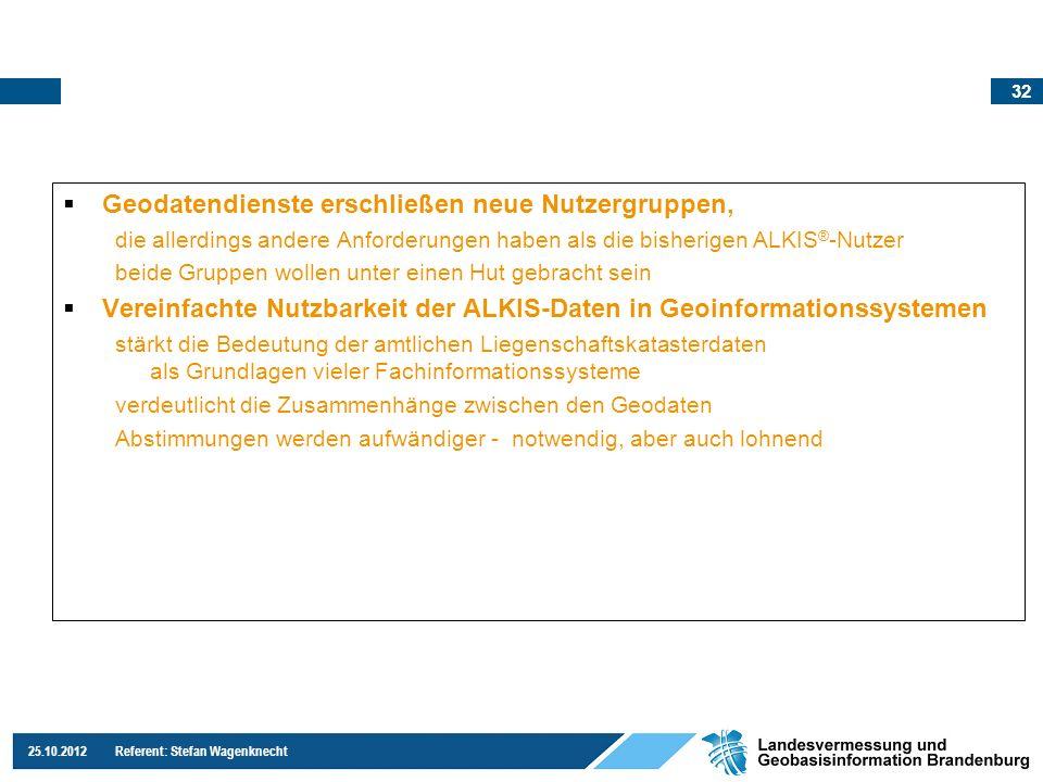 32 25.10.2012 Referent: Stefan Wagenknecht Geodatendienste erschließen neue Nutzergruppen, die allerdings andere Anforderungen haben als die bisherige