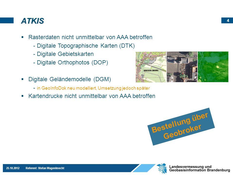 4 25.10.2012 Referent: Stefan Wagenknecht ATKIS Rasterdaten nicht unmittelbar von AAA betroffen - Digitale Topographische Karten (DTK) - Digitale Gebi