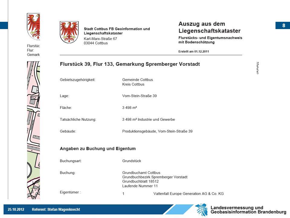 9 25.10.2012 Referent: Stefan Wagenknecht Neuerungen für ALKIS-LiKa-Online