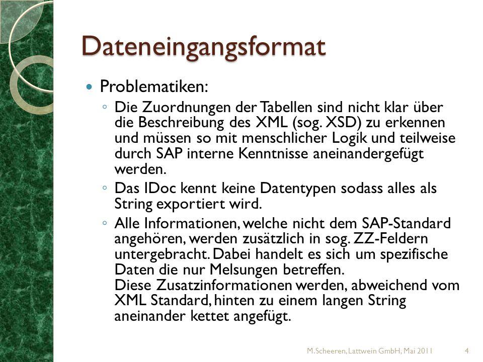 Dateneingangsformat Problematiken: Die Zuordnungen der Tabellen sind nicht klar über die Beschreibung des XML (sog.