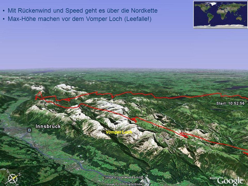 Mit Rückenwind und Speed geht es über die Nordkette Max-Höhe machen vor dem Vomper Loch (Leefalle!) Vomper Loch