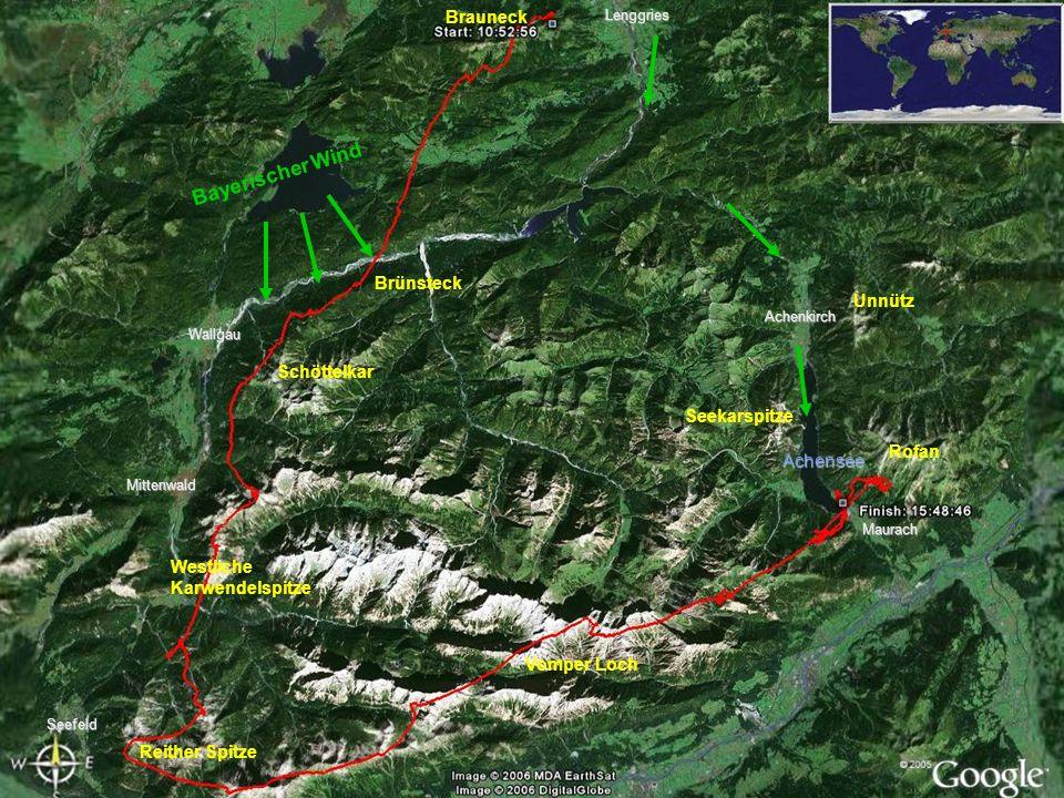 ÜbersichtLenggriesSeefeld Achensee Brauneck Bayerischer Wind Brünsteck Mittenwald Wallgau Schöttelkar Reither Spitze Westliche Karwendelspitze Vomper