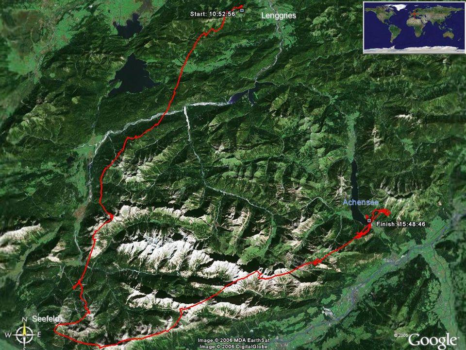 Abflughöhe 2.400m Flugrichtung Südwest zum Eingang des Karwendels: auf die Kette westlich des Sylvensteinsees (Brünsteck) zufliegen An zwischengelagerten Ketten immer wieder Höhe machen Brauneck Zugspitze Jachenau Brünsteck Wank