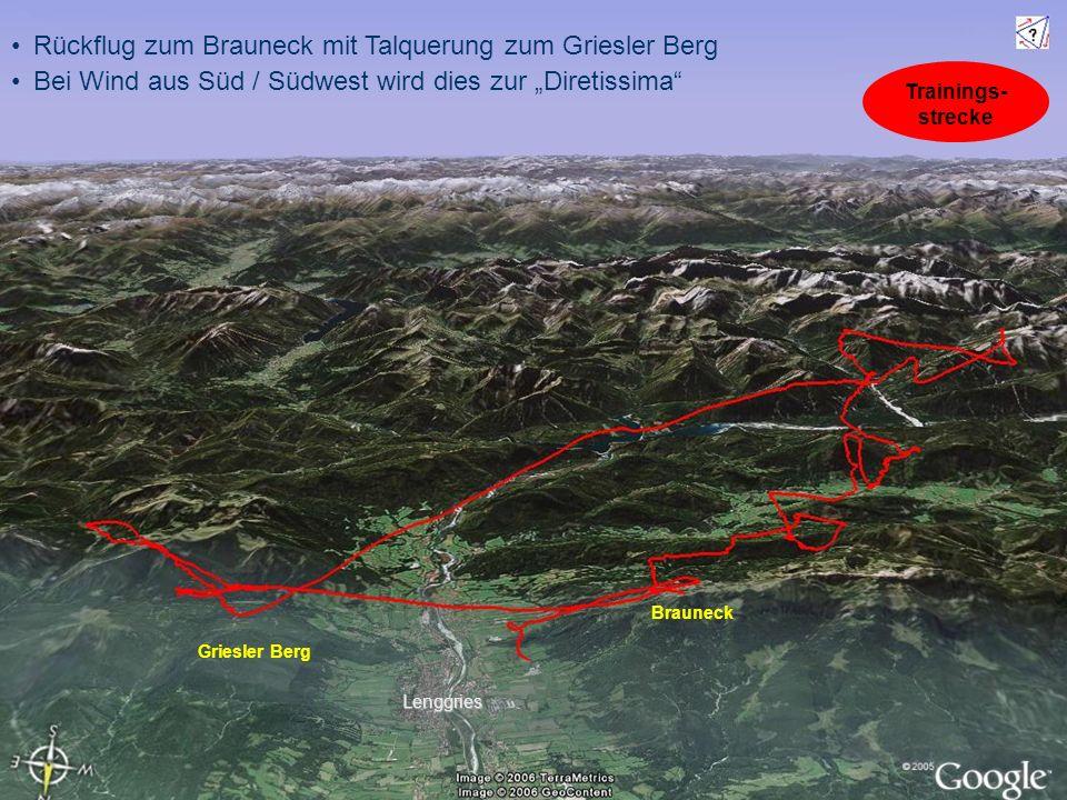 Rückflug zum Brauneck mit Talquerung zum Griesler Berg Bei Wind aus Süd / Südwest wird dies zur Diretissima Brauneck Griesler Berg Lenggries Trainings- strecke