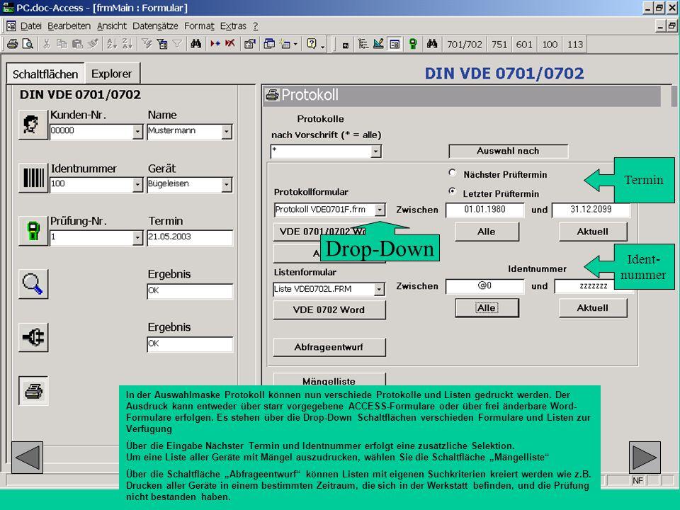 In der Auswahlmaske Protokoll können nun verschiede Protokolle und Listen gedruckt werden. Der Ausdruck kann entweder über starr vorgegebene ACCESS-Fo