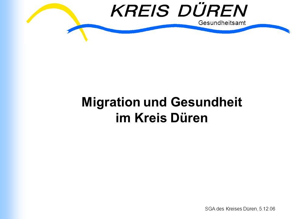 Gesundheitsamt SGA des Kreises Düren, 5.12.06 Migration und Gesundheit im Kreis Düren Gesundheitsamt