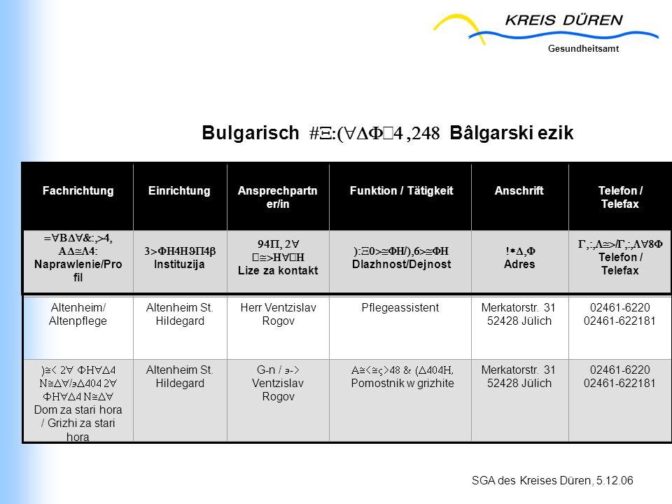 Gesundheitsamt SGA des Kreises Düren, 5.12.06 Bulgarisch Bâlgarski ezik FachrichtungEinrichtungAnsprechpartn er/in Funktion / TätigkeitAnschriftTelefo