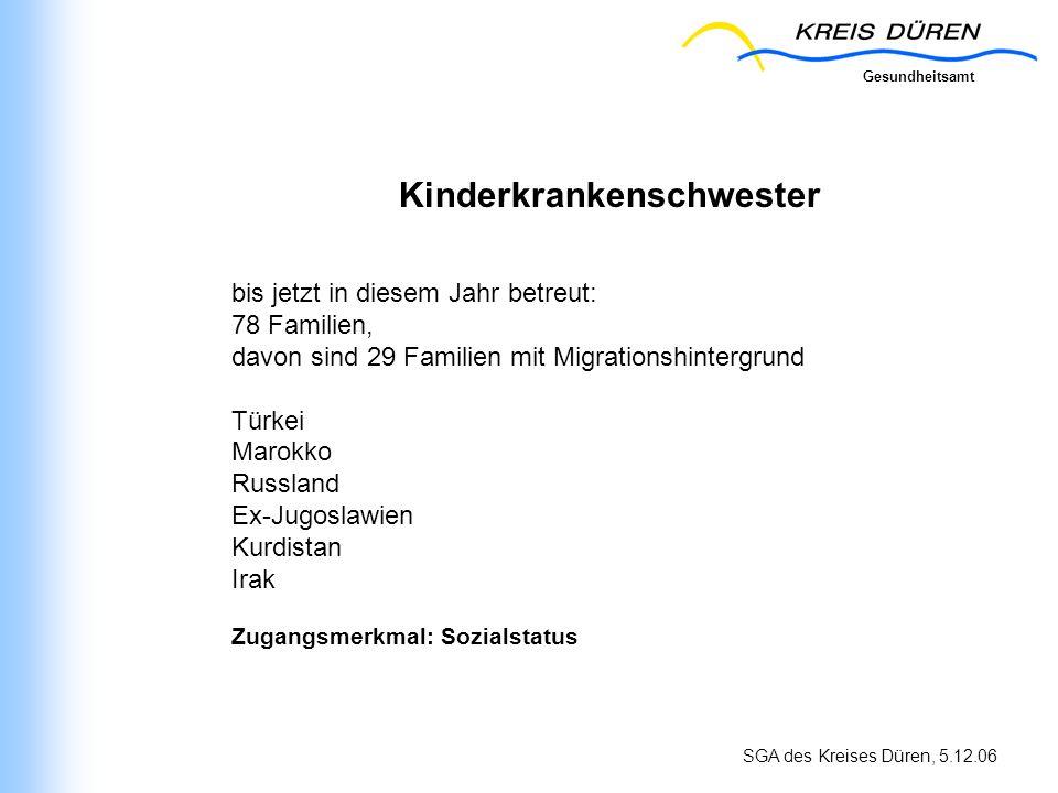 Gesundheitsamt SGA des Kreises Düren, 5.12.06 Kinderkrankenschwester bis jetzt in diesem Jahr betreut: 78 Familien, davon sind 29 Familien mit Migrati