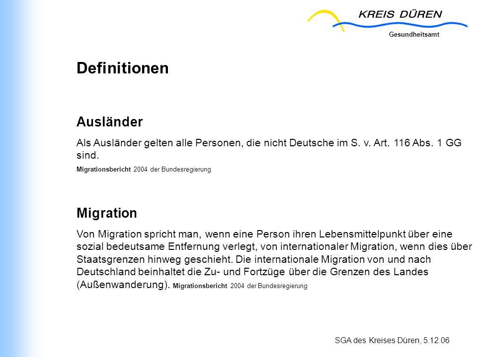 SGA des Kreises Düren, 5.12.06 Definitionen Ausländer Als Ausländer gelten alle Personen, die nicht Deutsche im S. v. Art. 116 Abs. 1 GG sind. Migrati
