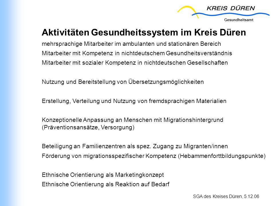 Gesundheitsamt SGA des Kreises Düren, 5.12.06 Aktivitäten Gesundheitssystem im Kreis Düren mehrsprachige Mitarbeiter im ambulanten und stationären Ber