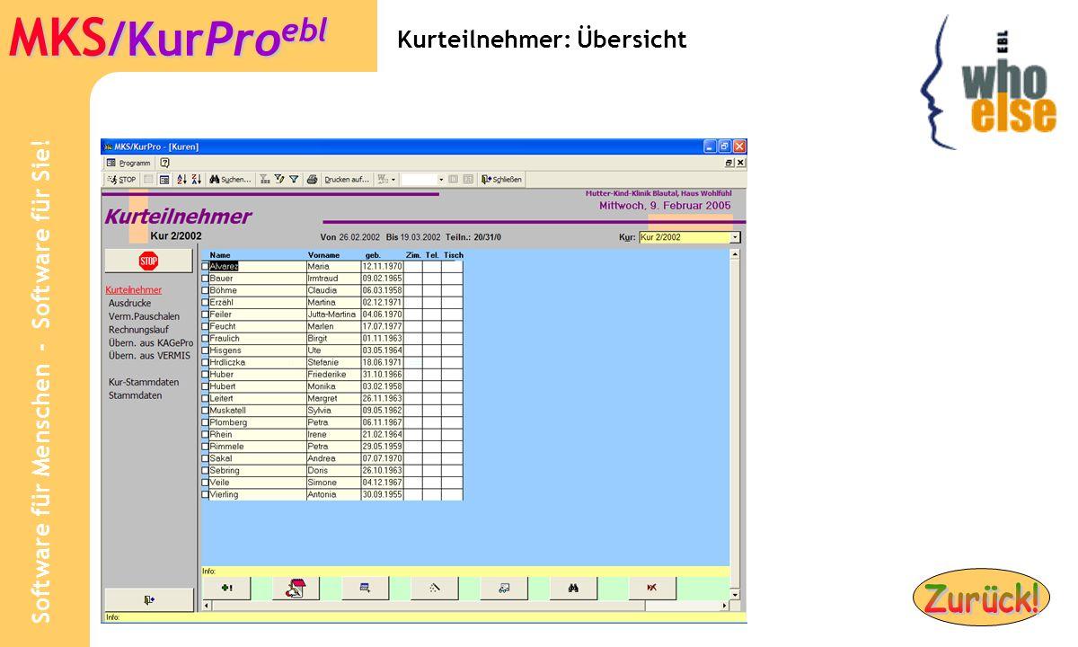 Software für Menschen - Software für Sie! MKS /KurPro ebl Kurteilnehmer: Übersicht