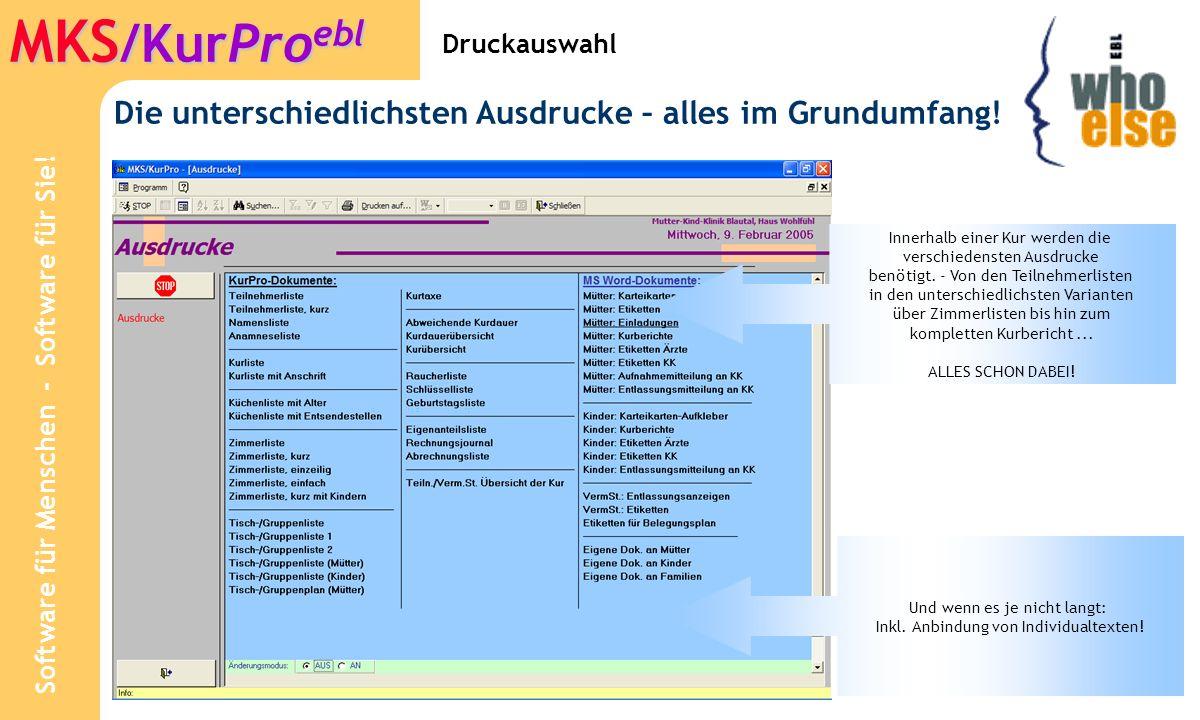 Software für Menschen - Software für Sie! MKS /KurPro ebl Stammdaten: Anamnese-Texte
