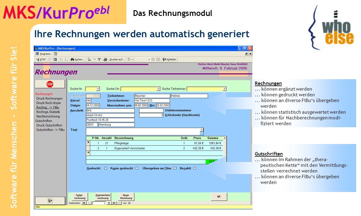 Software für Menschen - Software für Sie! MKS /KurPro ebl Stammdaten: Rechnungs-Texte