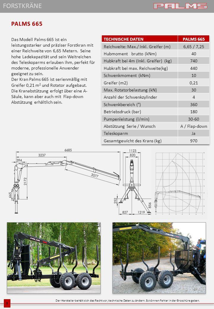 Das Modell Palms 665 ist ein leistungsstarker und präziser Forstkran mit einer Reichweite von 6,65 Metern. Seine hohe Ladekapazität und sein Weitreich
