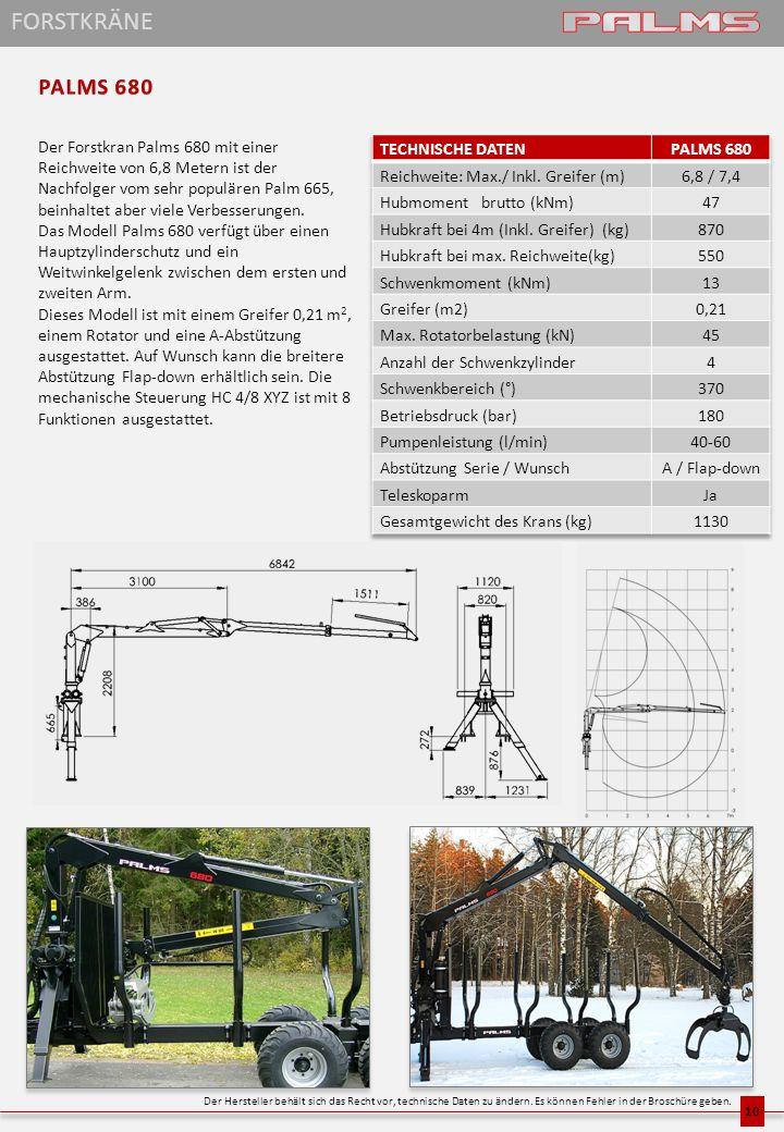 Der Forstkran Palms 680 mit einer Reichweite von 6,8 Metern ist der Nachfolger vom sehr populären Palm 665, beinhaltet aber viele Verbesserungen. Das