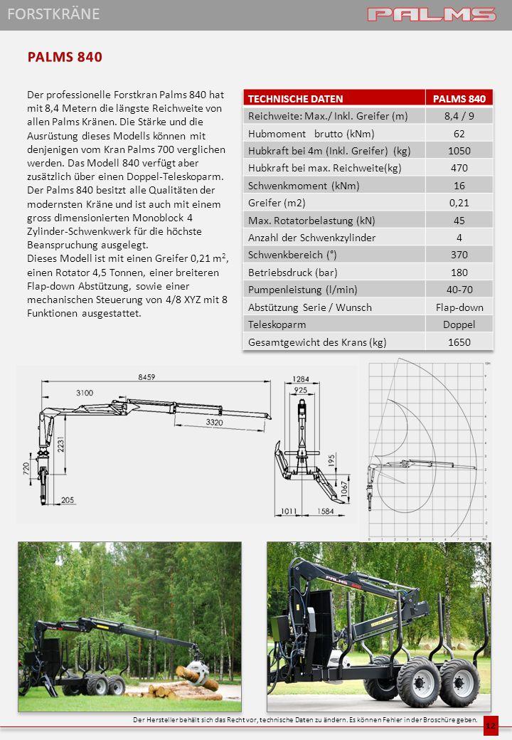 Der professionelle Forstkran Palms 840 hat mit 8,4 Metern die längste Reichweite von allen Palms Kränen. Die Stärke und die Ausrüstung dieses Modells