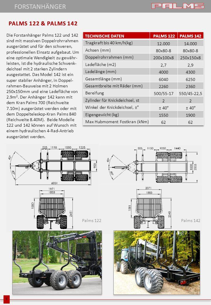 Die Forstanhänger Palms 122 und 142 sind mit massiven Doppelrohrrahmen ausgerüstet und für den schweren, professionellen Einsatz aufgebaut. Um eine op
