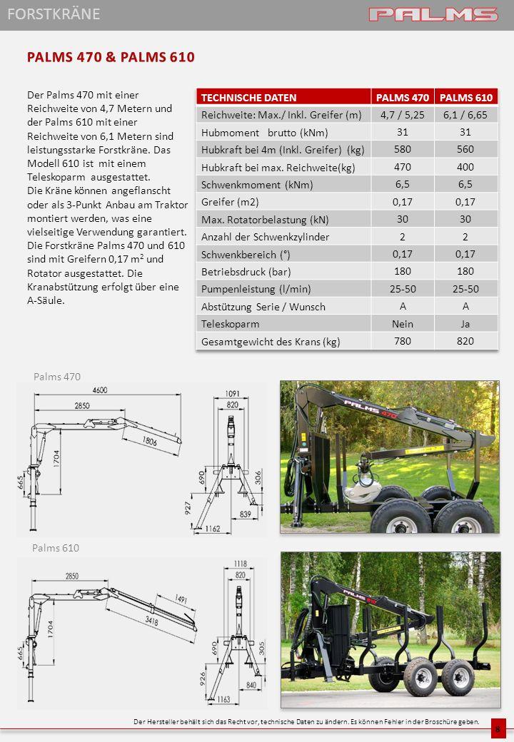 Das Modell Palms 665 ist ein leistungsstarker und präziser Forstkran mit einer Reichweite von 6,65 Metern.