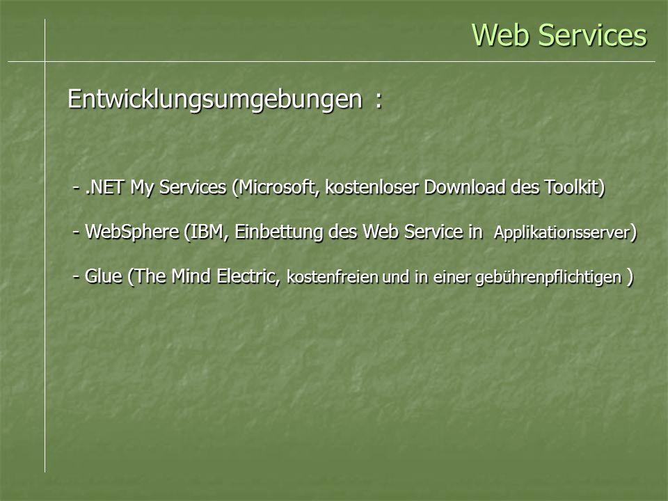 -.NET My Services (Microsoft, kostenloser Download des Toolkit) - WebSphere (IBM, Einbettung des Web Service in Applikationsserver ) - Glue (The Mind Electric, kostenfreien und in einer gebührenpflichtigen ) Web Services Entwicklungsumgebungen :