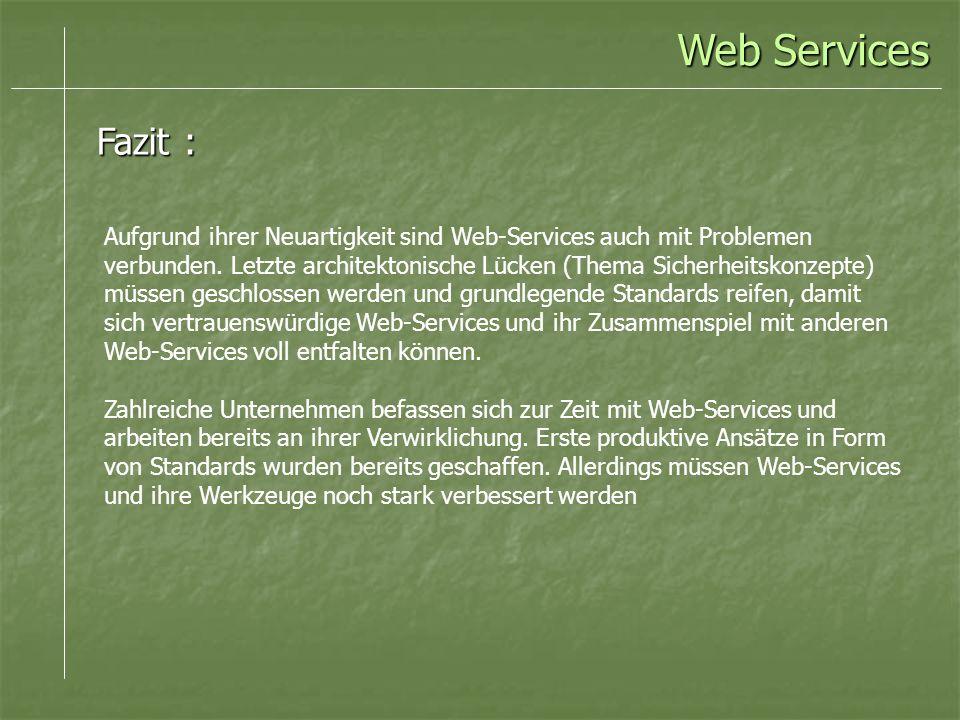 Web Services Fazit : Aufgrund ihrer Neuartigkeit sind Web-Services auch mit Problemen verbunden. Letzte architektonische Lücken (Thema Sicherheitskonz