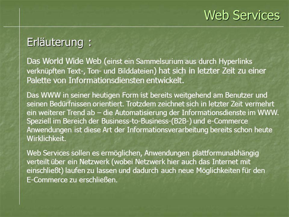 Erläuterung : Das World Wide Web ( einst ein Sammelsurium aus durch Hyperlinks verknüpften Text-, Ton- und Bilddateien ) hat sich in letzter Zeit zu einer Palette von Informationsdiensten entwickelt.