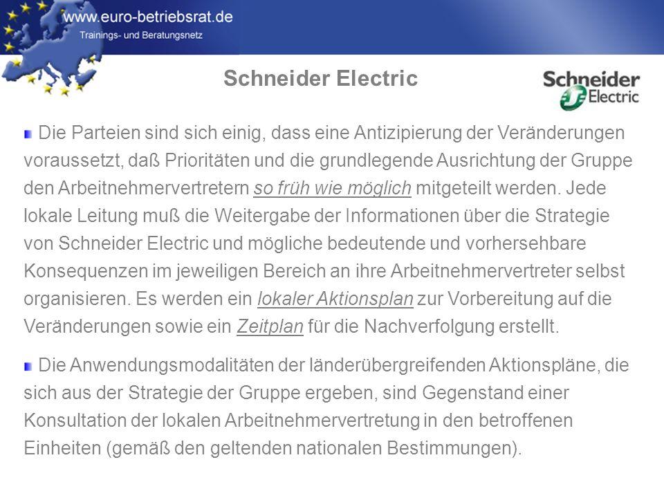 www.euro-betriebsrat.de Schneider Electric Monitoring: Es wird eine Überprüfungskommission geschaffen, die sich aus EMB-Vertretern und Mitgliedern des EBR-Präsidiums zusammensetzt.