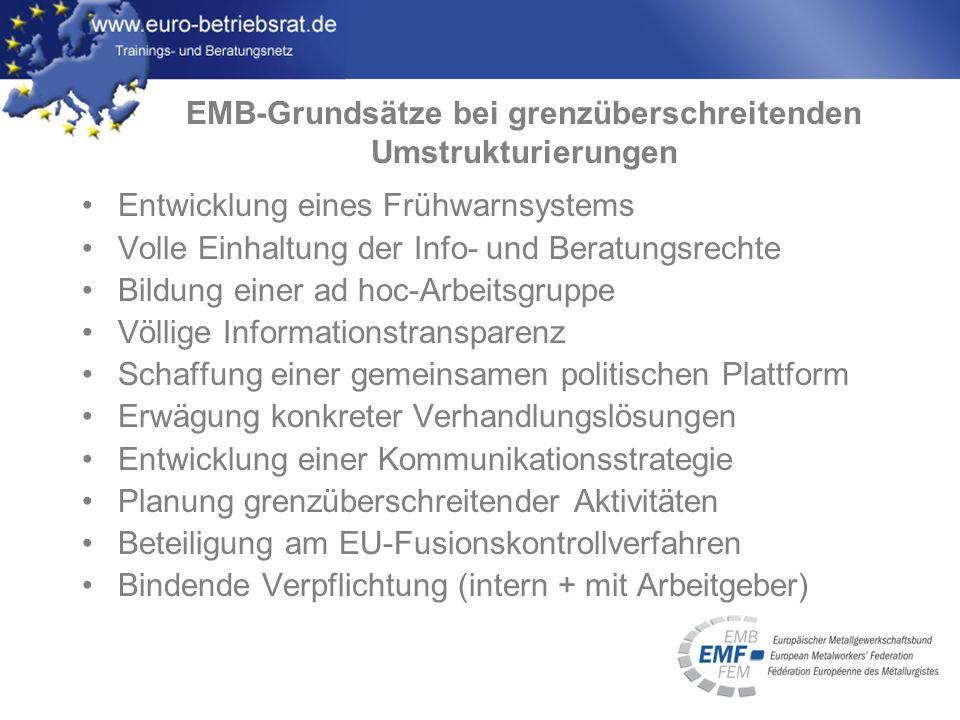 www.euro-betriebsrat.de Entwicklung eines Frühwarnsystems Volle Einhaltung der Info- und Beratungsrechte Bildung einer ad hoc-Arbeitsgruppe Völlige In