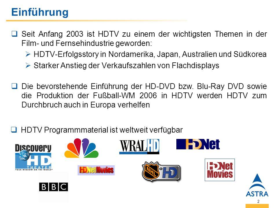 2 Einführung Seit Anfang 2003 ist HDTV zu einem der wichtigsten Themen in der Film- und Fernsehindustrie geworden: HDTV-Erfolgsstory in Nordamerika, Japan, Australien und Südkorea Starker Anstieg der Verkaufszahlen von Flachdisplays Die bevorstehende Einführung der HD-DVD bzw.