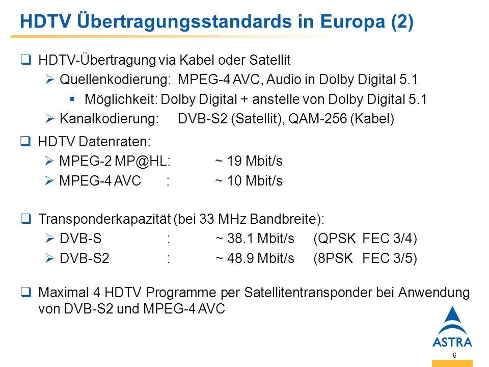6 HDTV Übertragungsstandards in Europa (2) HDTV-Übertragung via Kabel oder Satellit Quellenkodierung: MPEG-4 AVC, Audio in Dolby Digital 5.1 Möglichkeit: Dolby Digital + anstelle von Dolby Digital 5.1 Kanalkodierung: DVB-S2 (Satellit), QAM-256 (Kabel) HDTV Datenraten: MPEG-2 MP@HL:~ 19 Mbit/s MPEG-4 AVC:~ 10 Mbit/s Transponderkapazität (bei 33 MHz Bandbreite): DVB-S:~ 38.1 Mbit/s(QPSKFEC 3/4) DVB-S2:~ 48.9 Mbit/s(8PSKFEC 3/5) Maximal 4 HDTV Programme per Satellitentransponder bei Anwendung von DVB-S2 und MPEG-4 AVC
