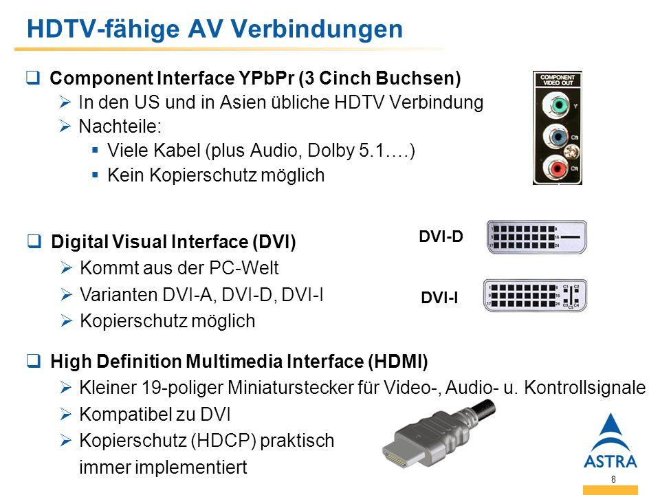 8 HDTV-fähige AV Verbindungen Component Interface YPbPr (3 Cinch Buchsen) In den US und in Asien übliche HDTV Verbindung Nachteile: Viele Kabel (plus Audio, Dolby 5.1….) Kein Kopierschutz möglich High Definition Multimedia Interface (HDMI) Kleiner 19-poliger Miniaturstecker für Video-, Audio- u.