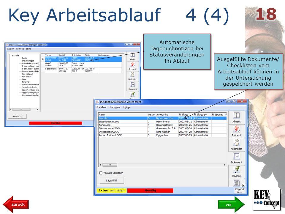 Key Arbeitsablauf 4 (4) vor zurück Ausgefüllte Dokumente/ Checklisten vom Arbeitsablauf können in der Untersuchung gespeichert werden Automatische Tagebuchnotizen bei Statusveränderungen im Ablauf