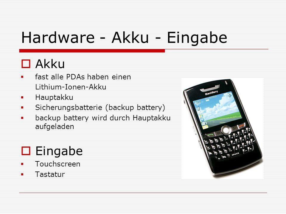 Hardware - Akku - Eingabe Akku fast alle PDAs haben einen Lithium-Ionen-Akku Hauptakku Sicherungsbatterie (backup battery) backup battery wird durch H