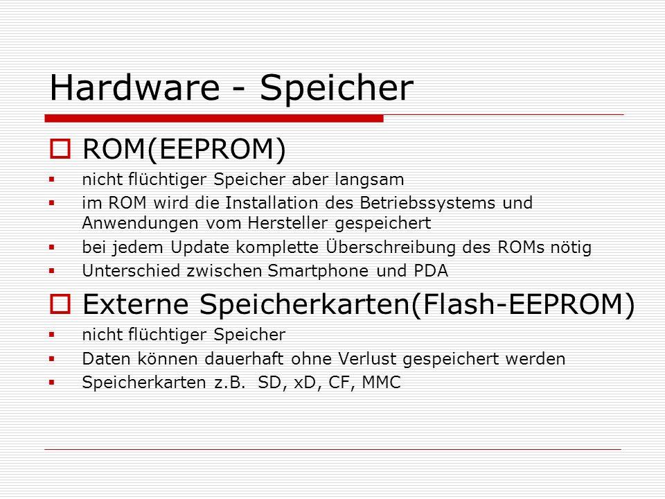 Hardware - Speicher ROM(EEPROM) nicht flüchtiger Speicher aber langsam im ROM wird die Installation des Betriebssystems und Anwendungen vom Hersteller