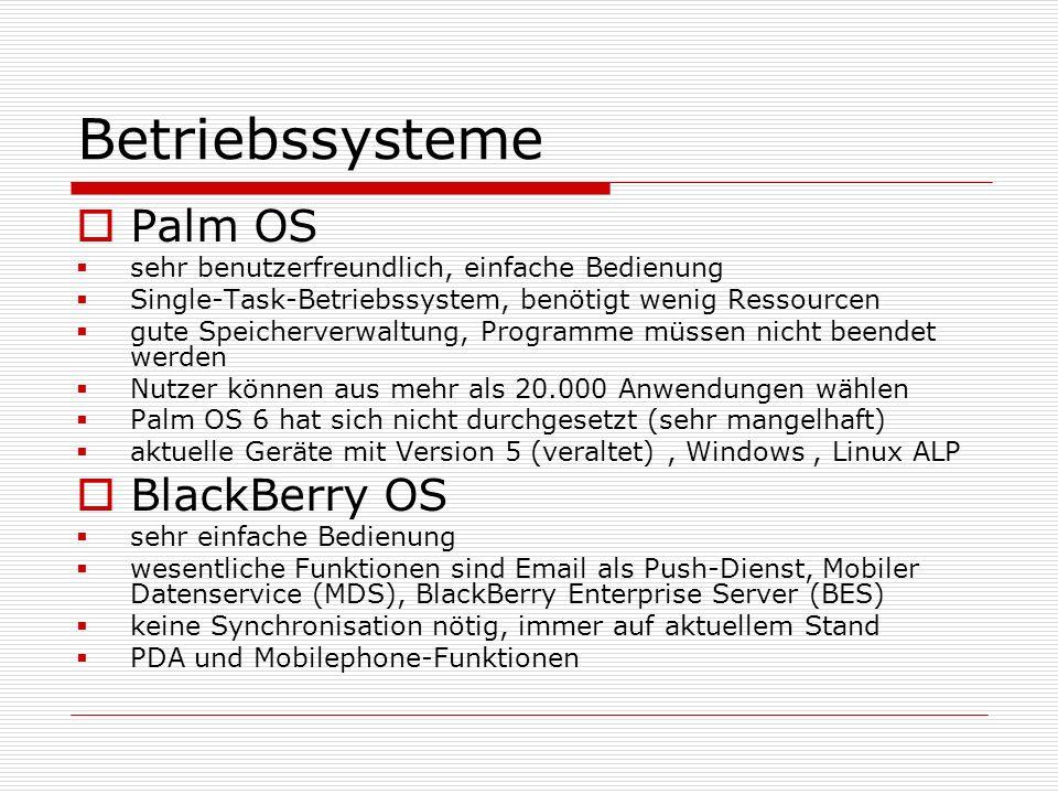 Betriebssysteme Palm OS sehr benutzerfreundlich, einfache Bedienung Single-Task-Betriebssystem, benötigt wenig Ressourcen gute Speicherverwaltung, Pro