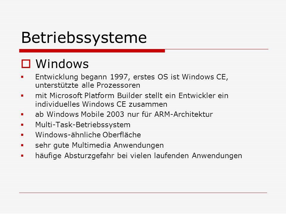 Betriebssysteme Windows Entwicklung begann 1997, erstes OS ist Windows CE, unterstützte alle Prozessoren mit Microsoft Platform Builder stellt ein Ent