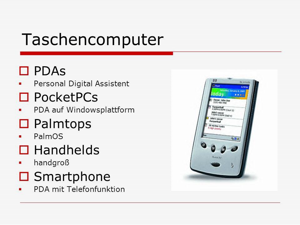 Taschencomputer PDAs Personal Digital Assistent PocketPCs PDA auf Windowsplattform Palmtops PalmOS Handhelds handgroß Smartphone PDA mit Telefonfunkti