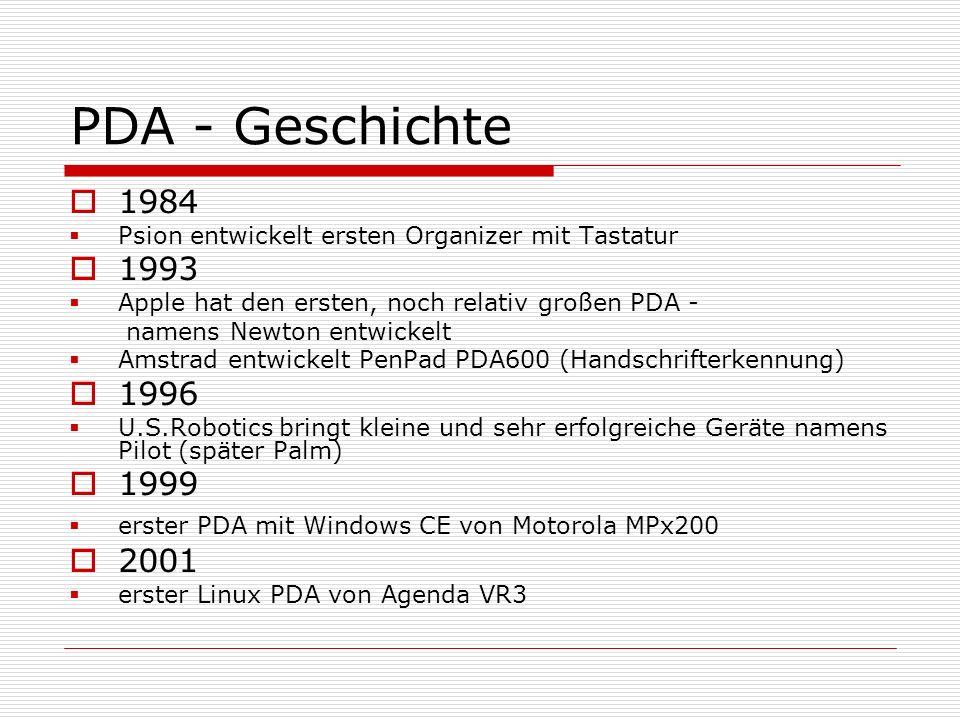 PDA - Geschichte 1984 Psion entwickelt ersten Organizer mit Tastatur 1993 Apple hat den ersten, noch relativ großen PDA - namens Newton entwickelt Ams