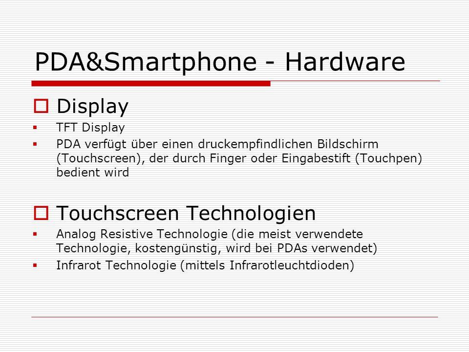 PDA&Smartphone - Hardware Display TFT Display PDA verfügt über einen druckempfindlichen Bildschirm (Touchscreen), der durch Finger oder Eingabestift (