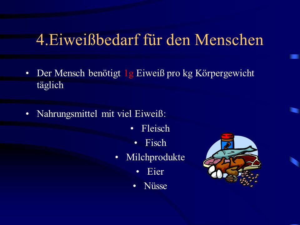 4.Eiweißbedarf für den Menschen Der Mensch benötigt 1g Eiweiß pro kg Körpergewicht täglich Nahrungsmittel mit viel Eiweiß: Fleisch Fisch Milchprodukte