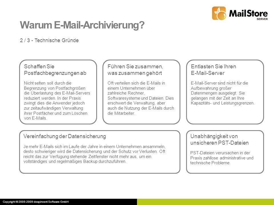 Warum E-Mail-Archivierung? 2 / 3 - Technische Gründe Schaffen Sie Postfachbegrenzungen ab Nicht selten soll durch die Begrenzung von Postfachgrößen di