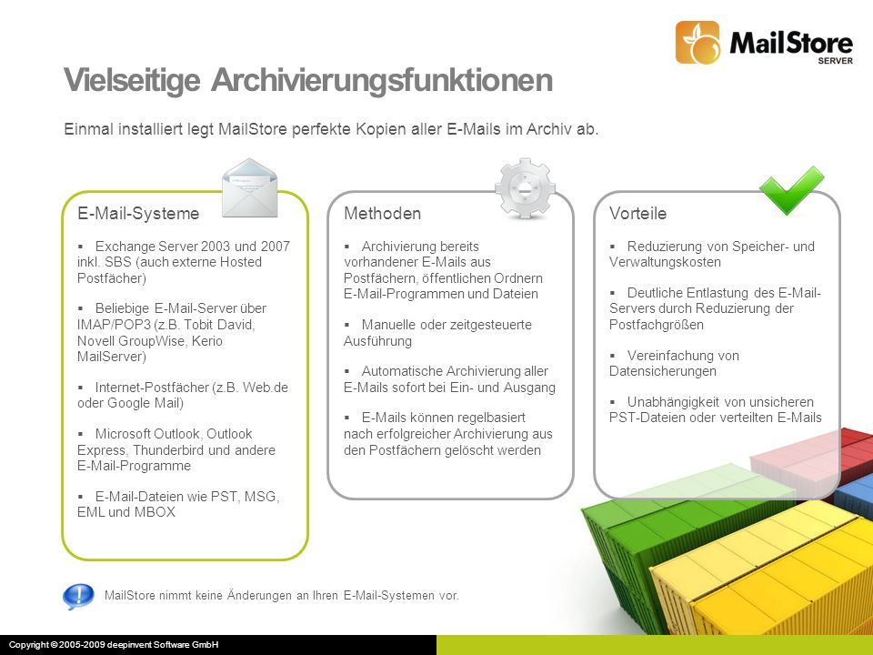 Flexibler Zugriff auf das Archiv Alle E-Mails und Dateianhänge können in Sekundenbruchteilen durchsucht werden.